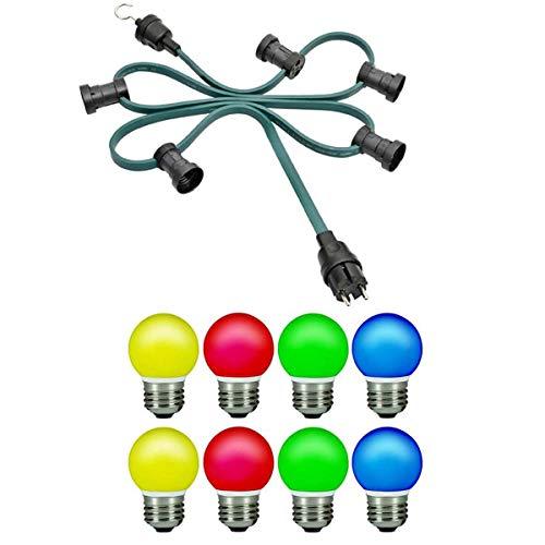 Kalthoff Party 10 Meter mit 10 Fassungen und LED Lampen, Netzstecker und Endstück mit Haken für innen und außen