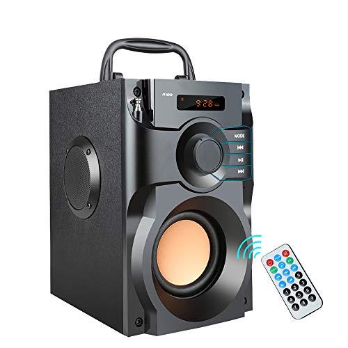 ZUEN Kabelloser Bluetooth-Lautsprecher Stereo-Subwoofer Basslautsprecher Column Soundbox-Unterstützung FM-Radio TF AUX USB-Fernbedienung (Fm-radio-basslautsprecher)