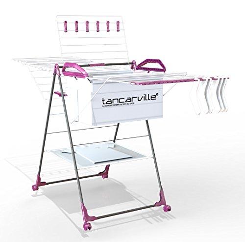 Séchoir à linge 25 mètres Tancarville grande capacité d'étendage, pliable, solide avec panière à linge intégrée et amovible et multiples accessoires pratiques