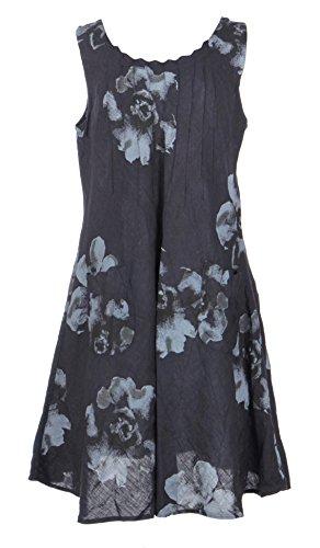 TEXTURE Ladies Womens Italian Lagenlook Floral Print Pintuck Linen Tunic Dress (Navy, X-Large) (Linen Tunic Floral)