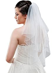 Braut Schleier aus Feintüll 2-stufig zum Brautkleid, 80 cm