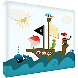 Dibujo de piratas estilo moderno, 60 x 40 x 4 cm.