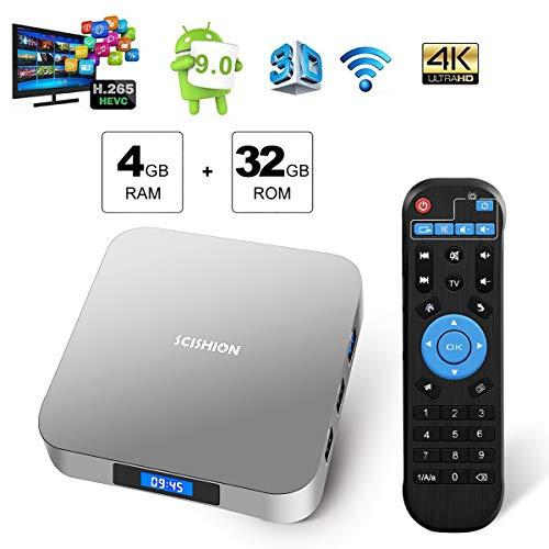 Sidiwen Android 9.0 TV Box AI Two 4GB DDR3 32GB eMMC RK3328 Quad Core Smart Media Player Bluetooth 4.0 WiFi Ethernet USB 3.0 Soporte 3D 4K H.265 Set Top Box