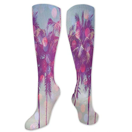 VVIANS Personalized Compression Socks,Palm Trees Hawaiian Tropic Seashore Beach Californian Miami Sunbeams Image,Best Medical,for Running,Hiking,Varicose Veins,Circulation & Recovery
