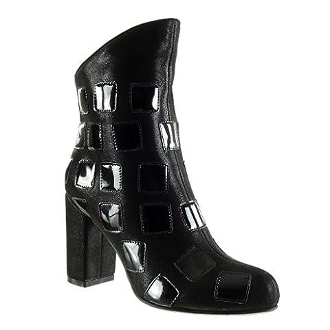 Angkorly - Chaussure Mode Bottine bi-matière Femme carré brillant Talon haut bloc 9 CM - Noir - B7630 T 38