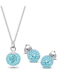 Elli Damen-Halskette + Ohrringe Swarovskikugel 925 Sterling Silber Swarovski Kristall rot Brillantschliff 0905560411_45