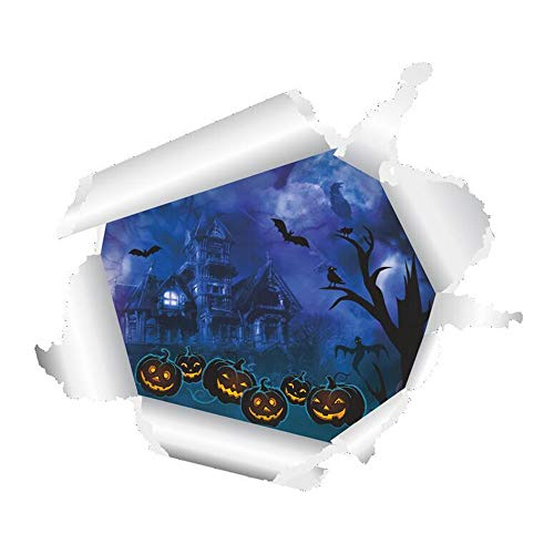 ARAYACY Wand-Aufkleber- / Horror-Geist-Schloss-Kürbis-Kopf-Dekoration Halloweens 3D, Die Fernsehhintergrund-Wand-Aufkleber Malt (Autos Halloween-kürbis Schablonen)