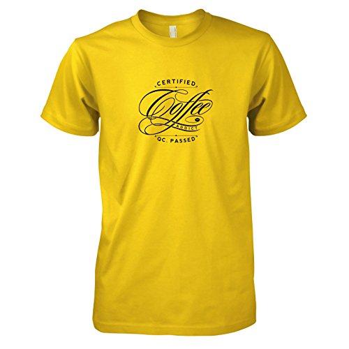 Texlab - Certified Coffee Addict - Herren T-Shirt, Größe S, gelb