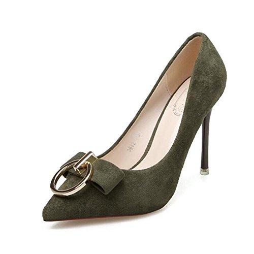 L@YC Scarpe Con Tacco alto Delle Scarpe Da Donna Con Fibbia In Metallo Con Scarpe Da Danza Eleganti Con Bocconcini Sottili Green