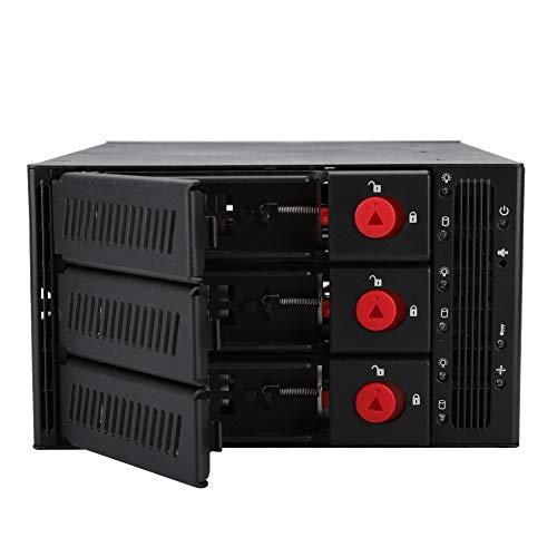 Tonysa Festplattenbox mit 3 Schächten, Externes SATA 3 Bay Festplattengehäuse für optische Laufwerke für 2,5 Zoll/3,5 Zoll 3 SAS/SATA Festplatten mit LED Anzeige