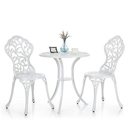 iKayaa 3PCS moderna Outdoor Patio Bistro fissato in alluminio Veranda Balcone Giardino Tavolo e sedie set Foglie Mobili Design Bianco