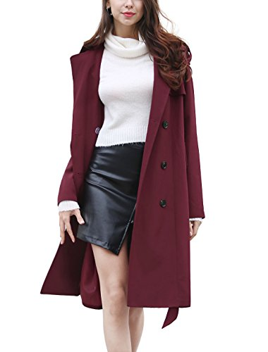 X-Small (2) , Red : Allegra K Women's Double Breasted Long Sleeves Split Lapel Belted Trench Coat