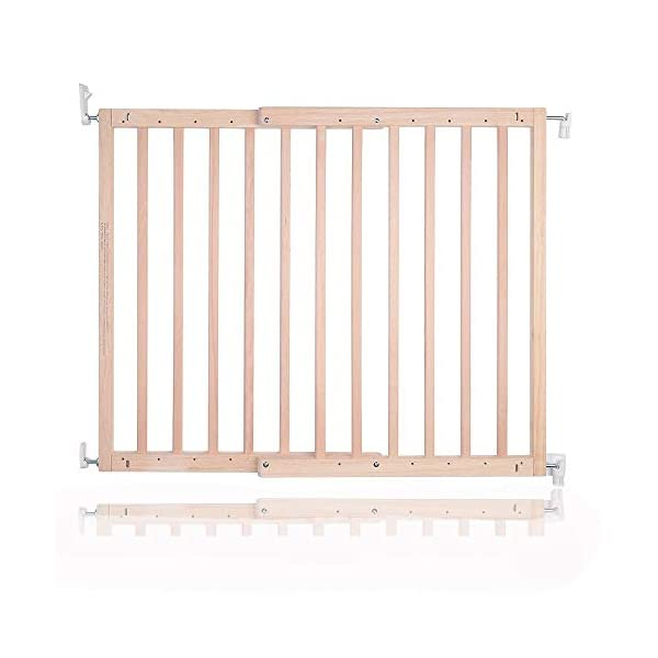 Safetots Top of The Stairs Screw Fitted Stair Gate (Natural Wooden) Safetots Perfect for the top of the stairs due to having no trip bar Screw fitted natural wooden gate One-handed operation 1
