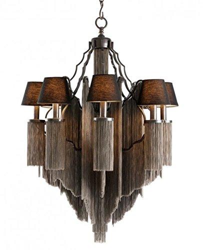 Casa Padrino Barock Luxus Ketten Kronleuchter 8-Flammig Antik Stil Gunmetal Finish - Möbel Lüster Leuchter Hängeleuchte Hängelampe
