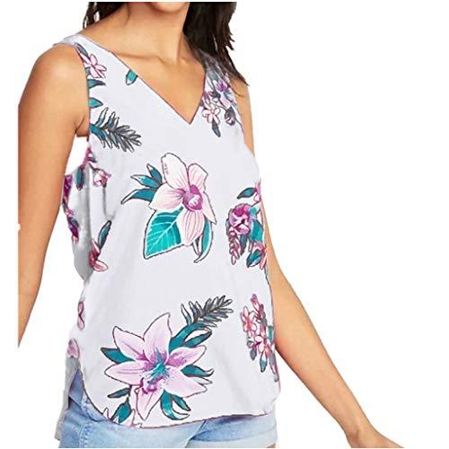 HULKY Damen Tank Bluse Sommer Ärmellos V-Ausschnitt Floral Bedruckte Weste Side Split Unregelmäßige Tops Lose Freizeit ChiffonT-Shirt(weiß,XL)