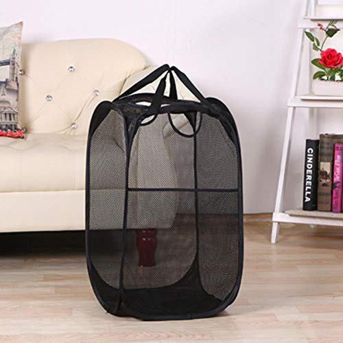SAOJI Faltbarer Wäschekorb zum Aufklappen zum Waschen des Wäschebeutels Hamper Nylon Mesh Storage Basket, schwarz 4 mesh -
