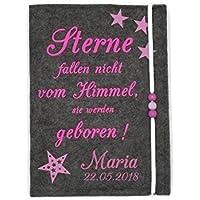 3 in 1 U Heft Hülle Untersuchungsheft Filz Esel weiß//rosa personalisiert