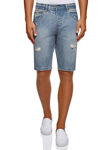 Oodji ultra uomo shorts in jeans strappati, blu, w36 / it 52 / eu 48