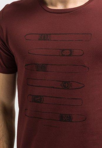 ARMEDANGELS Herren Print T-Shirt aus Bio-Baumwolle - James Cigar - GOTS, ORGANIC, CERES-008 grape red