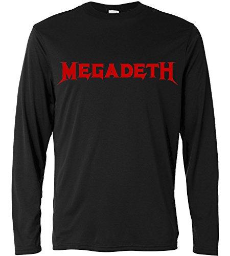 Camiseta de manga larga hombre - Megadeth - red logo - Long Sleeve 100% algondon LaMAGLIERIA, M, Negro