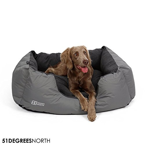 Hundebett Grau mittelgroße Hunde, Hundekorb mit Kissen, Storm Collection von 51 Degrees North, wasserabweisend wasserfest wasserdicht abwaschbar, Rocky Grey, Medium M: 70x50x25cm