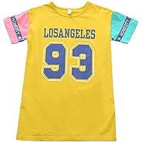 YT Modelos de Verano Niñas Camiseta de Manga Corta Falda Casual de la Falda de los Niños,Amarillo,140cm