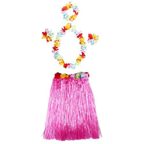 Imagen de 5pcs hawaiano hula 40cm vestido falda de hierba para ninos guirnaldas de flores decoracion grass skirt disfraces rosa