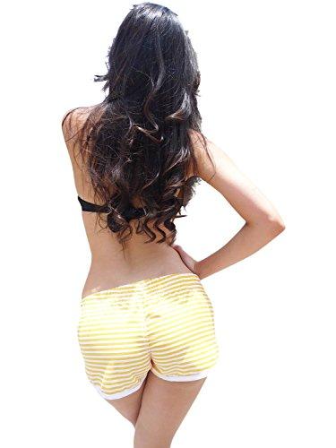 ingear Ladies Beach Shorts Yellow Stripes