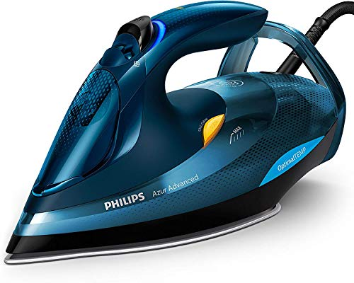 Philips Azur Advanced Dampfbügeleisen GC4937/20 (3000 W, 240g Dampfstoß, OptimalTEMP, Calc-Clean-System) blau