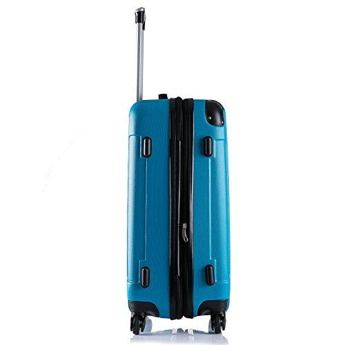 WOLTU RK4205ts Reise Koffer Trolley Hartschale mit erweiterbare Volumen , Reisekoffer Hartschalenkoffer 4 Rollen , M / L / XL / Set , leicht und günstig , Türkis (M, 56 cm & 42 Liter) - 4