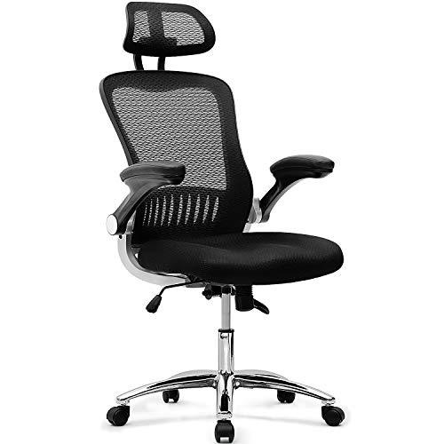 Merax Bürostuhl Ergonomischer Schreibtischstuhl Einstellbar Drehstuhl Computerstuhl Chefsessel mit verstellbare Kopfstütze und Armlehnen, Belastbar bis 110kg - Verstellbare Armlehnen