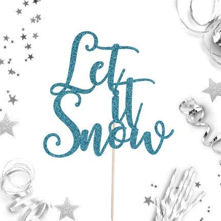 Cake Topper Let It Snow Winter Wonderland Winter Onederland Topper Winter Party Decor Holiday Winter Themed Party Cardstock Glitter Paper (Wonderland Winter Party Decor)