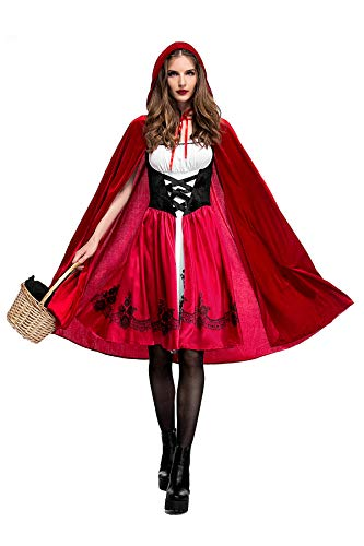 Eleasica Femme Halloween Déguisements Manches Courtes Dentelle Bretelle Petit Chaperon Rouge Cape avec Chapeau Fancy Dress Costume Haute Qualité Adulte Fête Parties Cosplay de Noël S-3XL