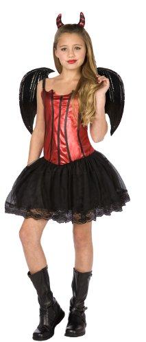 Teufelinnen Halloween Kinder-Kostüm rot-schwarz 140/152 (10-12 Jahre)