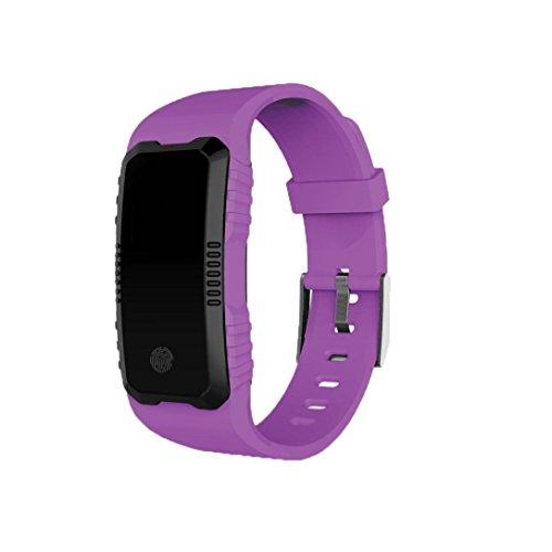 Coloré(TM) Montre Connectée, Bracelet Connecté Cardio frequence metre Poignet Smartwatch Fitness Tracker d'Activité Cardio Etanche Podometre Femme Homme Enfant pour iPhone Android Sport Natation (Violet)