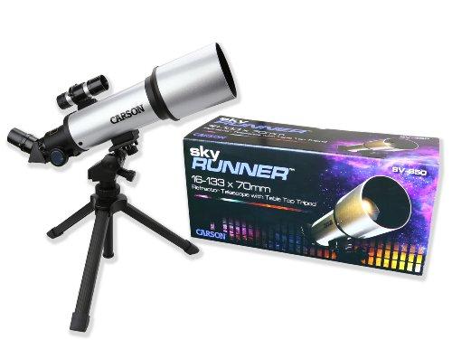 Best Carson 14-116×70 SkyRunner Short Tube Wide Angle Refractor Telescope on Amazon