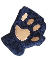 Lorsoul Unisex Felpa del Gato de la Pata de Garra Guante, la Novedad de Halloween Suave Towelling Cubierto Mitad de Las Mujeres Guantes Mitones - Azul Marino