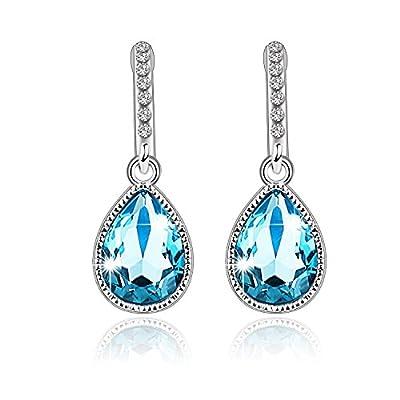 Pealrich-Eternal Love SWAROVSKI Elements White Gold Plated Aquamarine Crystal Teardrop Drop/Dangle Earrings for Women