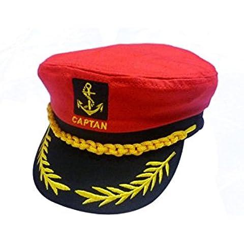 Sombrero - SODIAL(R)Gorra de Algodon de Marina Barco de Marinero Patron Capitan de Yate Sombrero de marina Disfraz Vestido de fiesta rojo