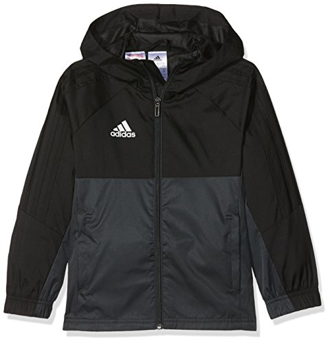 adidas Kinder Tiro 17 Regenjacke, Black/Dark Grey/White, 140