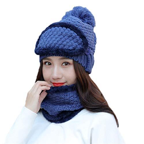 Scrox 1 Stück hochwertige Womens Beanie Mütze Scarf Set Mädchen Winter Ski Hut Slouchy Knit Skull Cap mit Futter aus Molton, blau, M - Blaue Ski-knit Beanie Cap
