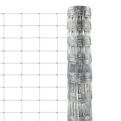 casa pura Rete Metallica Recinzione - Rete per Giardino Zincata, Anti Corrosione | Rete di Protezione Animali | Diverse Altezze e 50 m di Lunghezza - 100 cm x 50 m