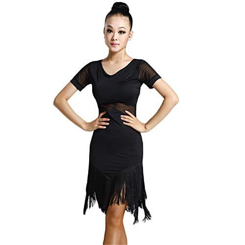 Motony Latin Dance Kleid Latin Dance Quasten Röcke Damen Kleidung Kostüm Schwarz - Schwarzes Kleid Dance Kostüm