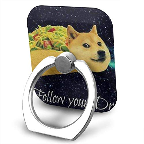 Doge In Taco Chicken Rolls Flying Across The Galaxy Space Fllow Your Dream Amusing Mouse Pad 360 Rotating Phone Metal Buckle Tablet Finger Grip Ring Stand Holder Kickstand for All Phones Tablets Chicken Music Box