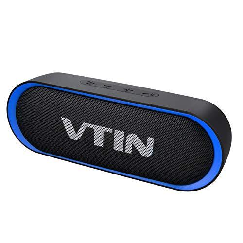 Bluetooth Lautsprecher,VTIN R4 Bluetooth 5.0 Lautsprecher,30 Stdn Spielzeit,10W Dual Treiber Tragbarer Lautsprecher,IPX5 Wasserdichter Außen Lautsprecher,Musikbox Eingebautes Mikrofon,TF Karte