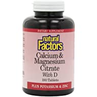 Natural Factors, Calcium & Citrate de Magnesium, avec D, 180 Plaquettes