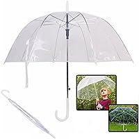 besting burbuja transparente paraguas de cúpula, transparente con forma de champiñón paraguas resistente al viento mitad automático mango claro lluvia ...