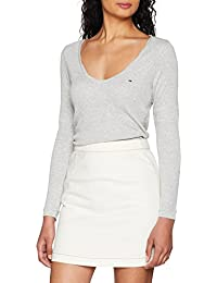 Tommy Jeans Tjw Rib Scoop Neck Longsleeve, Maglia a Maniche Lunghe Donna