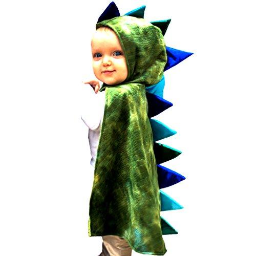 Trullala Kinder Umhang Drache 1-2 Jahre Kleinkind grün Mittelalter Dino Saurier Reptil Krokodil (Kostüm Kleinkind Krokodil)