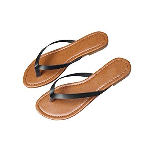 Outgobuy Damen Leder Thong Flache Ferse Sommer Sandalen Handarbeit in Griechenland Luca Flip Flops (38, Schwarz)